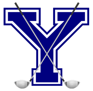 Large Y with two golf clubs forming an X in the foreground